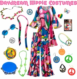 SALE! Daydream Print Hippie 2PC Set - 60's Style Retro Plus Size & Supersize Halloween Costume Kit Lg XL 0x 1x 2x 3x 4x 5x 6x 7x 8x 9x