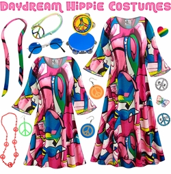 SALE! Daydream Print Hippie Dress - 60's Style Retro Plus Size & Supersize Halloween Costume Kit Lg XL 0x 1x 2x 3x 4x 5x 6x 7x 8x 9x