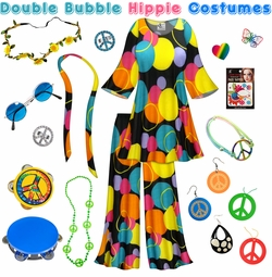 SOLD OUT! SALE! Double Bubble Print Hippie 2PC Set - 60's Style Retro Plus Size & Supersize Halloween Costume Kit Lg XL 0x 1x 2x 3x 4x 5x 6x 7x 8x 9x