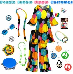 SALE! Double Bubble Print Hippie 2PC Set - 60's Style Retro Plus Size & Supersize Halloween Costume Kit Lg XL 0x 1x 2x 3x 4x 5x 6x 7x 8x 9x