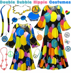 SALE! Double Bubble Print Hippie Dress - 60's Style Retro Plus Size & Supersize Halloween Costume Kit Lg XL 0x 1x 2x 3x 4x 5x 6x 7x 8x 9x