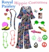 SOLD OUT! Royal Paisley Print Hippie Costume - 60's Style Retro Dress or Top & Wide-Bottom Pant Set Plus Size & Supersize Halloween Costume Kit 3x 4x