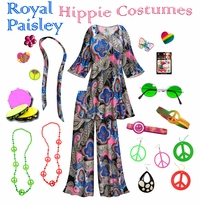 CLEARANCE! Royal Paisley Print Hippie Costume - 60's Style Retro Dress or Top & Wide-Bottom Pant Set Plus Size & Supersize Halloween Costume Kit 3x 4x