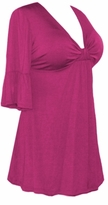 SALE! Hot Pink Fuschia Cotton Lycra Sexy Low-Cut Plus Size & Supersize Flutter Sleeve Top 0x 1x 2x 3x 4x 5x 6x 7x 8x 9x