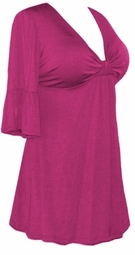 SALE! Plus Size Hot Pink Fuchsia Magenta Poly/Cotton Sexy Low-Cut Flutter Sleeve Babydoll Tops 0x 1x 2x 3x 4x 5x 6x 7x 8x 9x