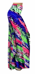 SOLD OUT! Hot Pink Green & Blue Animal Print Slinky Special Order Customizable Plus Size & Supersize Pants, Capri's, Palazzos or Skirts! Lg to 9x