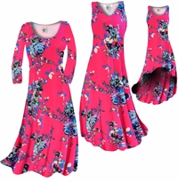 CLEARANCE! Hot Pink With Light Blue Rose Buds Slinky Print Plus Size & Supersize Dress, Pants, Skirts