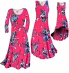 CLEARANCE! Hot Pink With Light Blue Rose Buds Slinky Print Plus Size & Supersize Dress, Pants, Skirts 1x