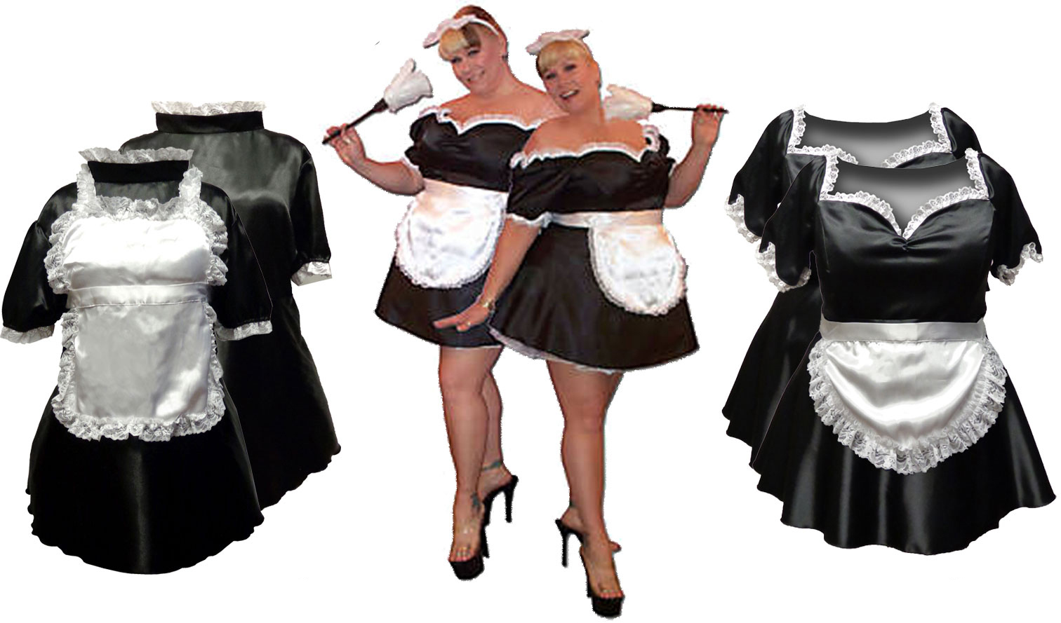 Black u0026 White French Maid Costume Sexy Plus Size u0026 Supersize Halloween Costume! 1x 3x  sc 1 th 172 : black and white halloween costumes  - Germanpascual.Com
