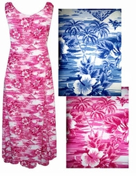 SOLD OUT! FINAL SALE! Hot Sunset Pink Tropical Island Plus-Size Princess Cut Tank Dress 2x
