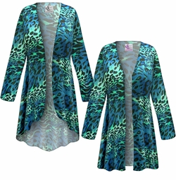 SALE! Customizable Plus Size Teal & Green Animal Slinky Print Jackets & Dusters - Sizes Lg XL 1x 2x 3x 4x 5x 6x 7x 8x 9x