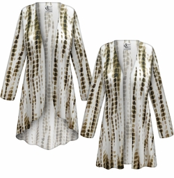 SALE! Customizable Plus Size Cream with Brown Ink Lines Slinky Print Jackets & Dusters - Sizes Lg XL 1x 2x 3x 4x 5x 6x 7x 8x 9x