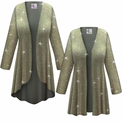 SALE! Customizable Plus Size Sparkling Olive Glitter Slinky Print Jackets & Dusters - Sizes Lg XL 1x 2x 3x 4x 5x 6x 7x 8x 9x