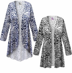 SALE! Customizable Plus Size Navy or Black Animal Print Jackets & Dusters - Sizes Lg XL 1x 2x 3x 4x 5x 6x 7x 8x 9x