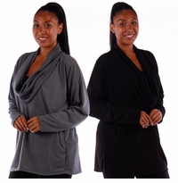 SOLD OUT! SALE! Black Cowl Neck Long Sleeve Top Plus Size 4x 5x