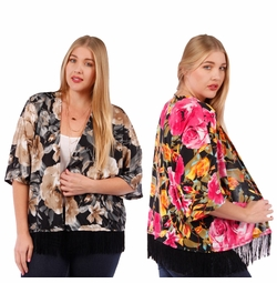 SALE! Floral Print Slinky Cardigan Jacket with Fringed Hem Plus Size 4x 5x 6x
