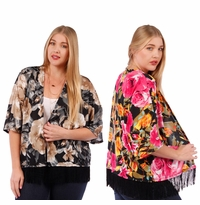 SOLD OUT! SALE! Floral Print Slinky Cardigan Jacket with Fringed Hem Plus Size 4x