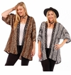 SOLD OUT! Brown Lace Trimmed Animal Print Open Style Plus Size Slinky Cardigan Jacket 4x