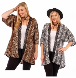 SALE! Brown Lace Trimmed Animal Print Open Style Plus Size Slinky Cardigan Jacket 4x