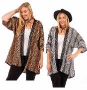 SALE! Gray or Brown Lace Trimmed Animal Print Open Style Plus Size Slinky Cardigan Jacket 4x