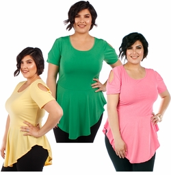 CLEARANCE SALE! Plus Size Pink Green or Yellow Cold Shoulder Skater Top 4x 5x