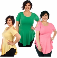 SALE! Plus Size Pink Green or Yellow Cold Shoulder Skater Top 4x