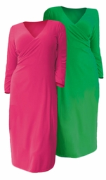 "SOLD OUT! SALE!  Kelly Green or Pink Fuchsia 3/4"" Sleeve Mid Length Slinky Plus Size Surplice V Neck Knit Dress 4x"