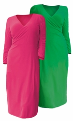 "SALE!  Kelly Green or Pink Fuchsia 3/4"" Sleeve Mid Length Slinky Plus Size Surplice V Neck Knit Dress 4x"