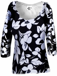 SOLD OUT!! FINAL SALE! Lightweight Black & White Floral Print Slinky Plus Size & Supersize A-Line Shirts 6x