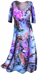 CLEARANCE! Lightweight Colorful Pink & Blue Marble Print Slinky Plus Size & Supersize Shirts XL