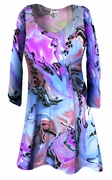 CLEARANCE! Lightweight Colorful Pink & Blue Marble Print Slinky Print Plus Size & Supersize Shirts XL