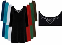 SOLD OUT! Rhinestone Solid Color Slinky Plus Size & Supersize Shirts Black