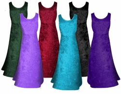 CLEARANCE! MANY COLORS! Crush Velvet Princess Cut Tank Plus Size Supersize Dresses 3x 4x