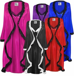 MANY COLORS!  Plus Size Customizable Weddding Night Lace Trim White Black Navy Gold Royal Lavender Purple Pink Turquoise or Silver Satin Robe & Nightgown Set 0x 1x 2x 3x 4x 5x 6x 7x 8x 9x