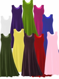 CLEARANCE! Solid Colors POLY/COTTON Stretchy Plus Size & Supersize A-Line or Princess Cut Tank Dresses 0x 1x 2x