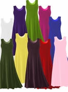 CLEARANCE! Solid Colors POLY/COTTON Stretchy Plus Size & Supersize A-Line or Princess Cut Tank Dresses 0x  2x
