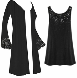 SALE! Customizable Starry Night Plus Size & Supersize Jacket & Tank Top Set With Silver Or Gold Rhinestuds!