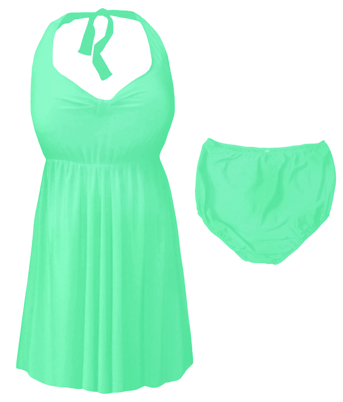 83dac4076661c Mint Green Plus Size   Supersize Halter 2pc Swimdress 0x 1x 2x 3x 4x 5x 6x  7x 8x