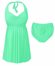Mint Green Plus Size & Supersize Halter 2pc Swimdress 0x 1x 2x 3x 4x 5x 6x 7x 8x