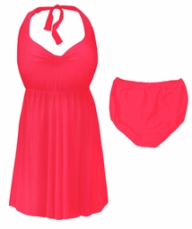 Neon Pink Plus Size & Supersize Halter 2pc Swimdress 0x 1x 2x 3x 4x 5x 6x 7x 8x