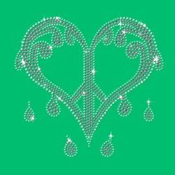 FINAL SALE! Sparkly Rhinestuds Pink & Silver Dripping Peace Heart on Shamrock Green Plus Size T-Shirt 2x 3x 4x 5x