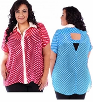 SALE! Fuschia Pink or Blue Polka Dot Sheer Cover Up Blouse Plus Size 4x 5x