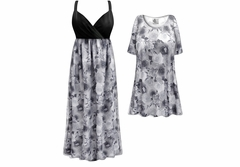 NEW! 2 Layer (Sheer Over Slinky) Gray & White Roses Slinky Print - Plus Size Slinky Dresses Shirts Jackets Pants Palazzo�s & Skirts - Sizes Lg to 9x