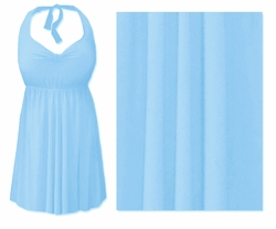 Light Blue Plus Size & Supersize Halter 2pc Swimdress 0x 1x 2x 3x 4x 5x 6x 7x 8x 9x