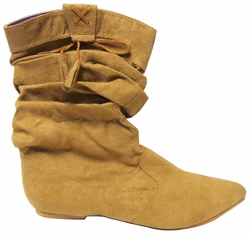 CLEARANCE! Tan Mock Suede Short Length Boots Ladies Sizes 8.5