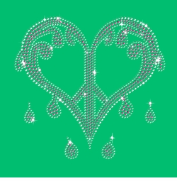 FINAL CLEARANCE SALE! Sparkly Rhinestuds Pink & Silver Dripping Peace Heart on Shamrock Green Plus Size T-Shirt 2x 3x 4x 5x