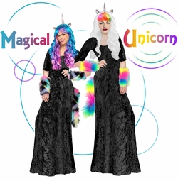 NEW! All Black Magical Unicorn Long Dress Plus Size Supersize Halloween Costume Lg XL 1x 2x 3x 4x 5x 6x 7x 8x 9x