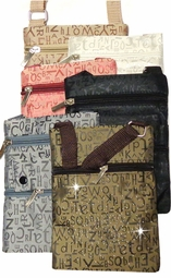 CLEARANCE! Alphabet Letters Gray,White, Brown, and Tan Print Designs And Add Rhinestuds! With Canvas Strap Zippers Camera Cellphone Bag