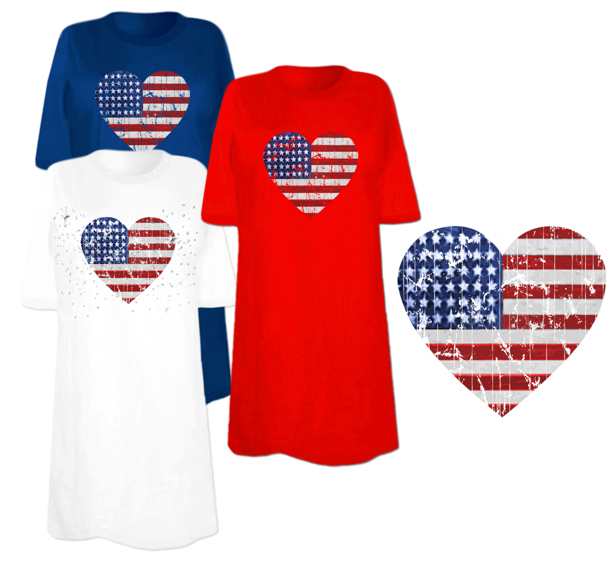 Sale American Flag Heart Plus Size Supersize T Shirts S