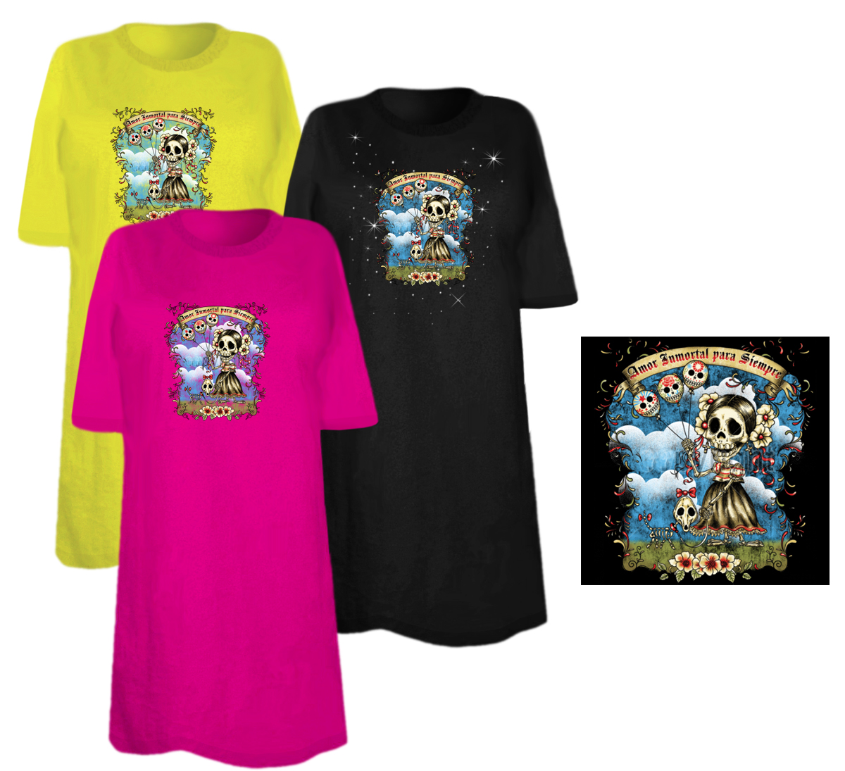 Sale amor immortal para siempre day of the dead plus size for 3x shirts on sale